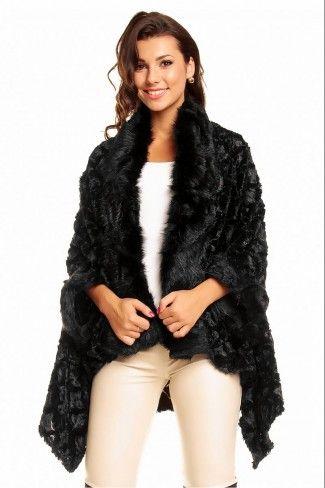 Γούνινο παλτό κάπα με ανάγλυφα σχέδια - Μαύρο