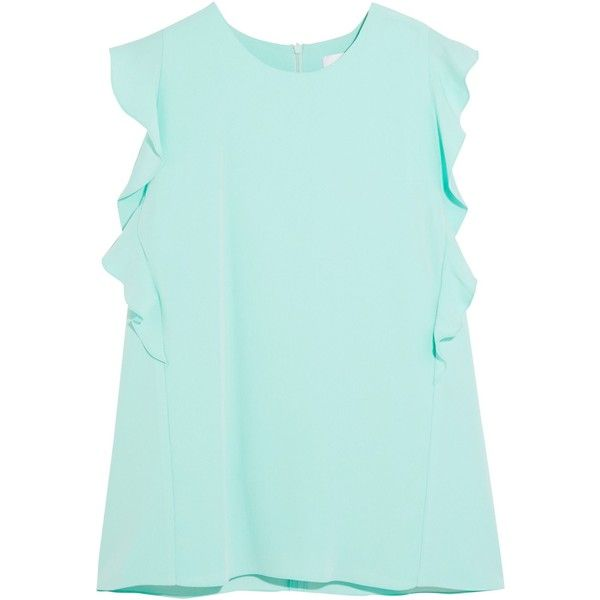 Carven Ruffled crepe top ($148) ❤ liked on Polyvore featuring tops, blouses, mint, flounce blouse, mint top, mint blouse, green ruffle top and flutter blouse