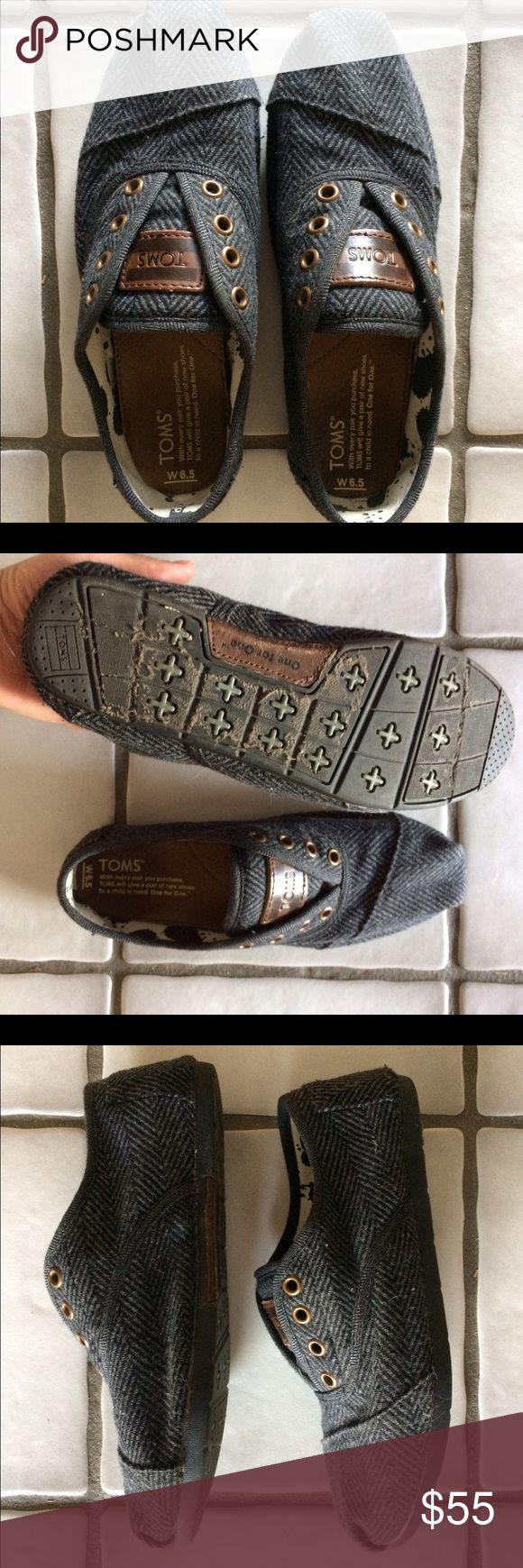TOMS Cordones, Size 6.5 Lightly worn light/dark grey TOMS Cordones. Looking for a new owner to out-use them! I've worn all of my other TOMS til death but these aren't my style anymore. Hoping someone else will put them to good use. ☺️ TOMS Shoes Sneakers