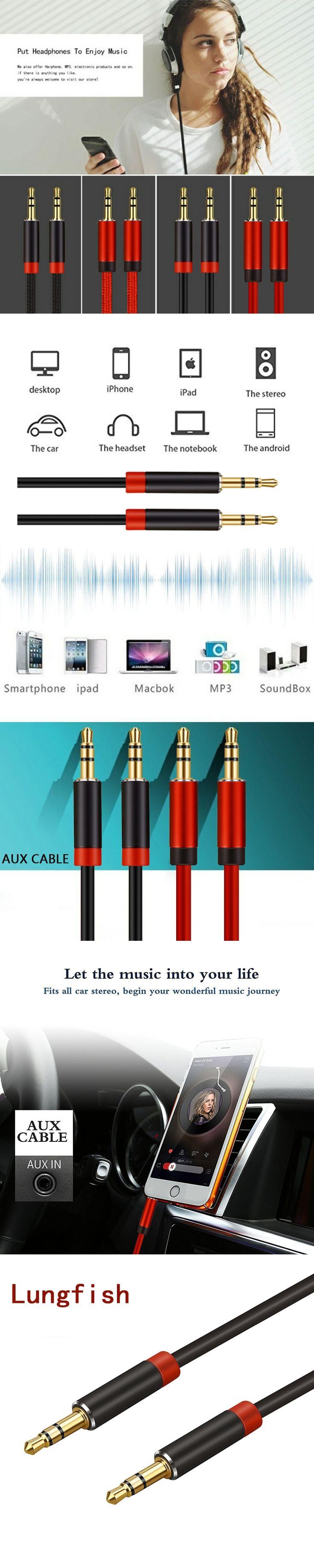 Lungfish 3.5mm audio cable jack 3.5 mm aux cable for iPhone car headphone beats speaker aux cord MP3/4 0.3m 1m 1.5m 2m 3m 5m