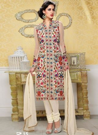 Angelic Cream Satin Silk Designer Churidar Suit