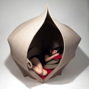Hush by  Freyja Sewell. A giant seed pod for working or relaxing.