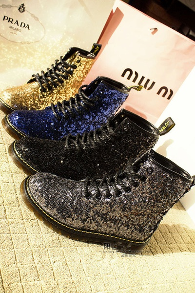 Sequined Dr Martens' boots
