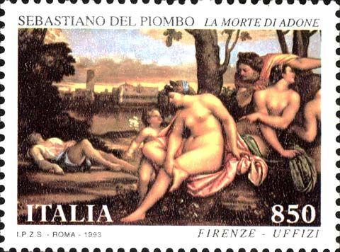 """1993 - Tesori dei musei e degli archivi nazionali: Galleria degli Uffizi di Firenze - Dipinto """"La morte di Adone"""" di Sebastiano del Piombo"""