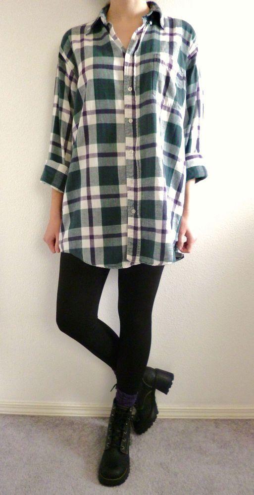 Vintage 90s Grunge Green Purple Plaid Long Flannel Shirt Seattle Oversized Boyfriend Sz L #LLBean