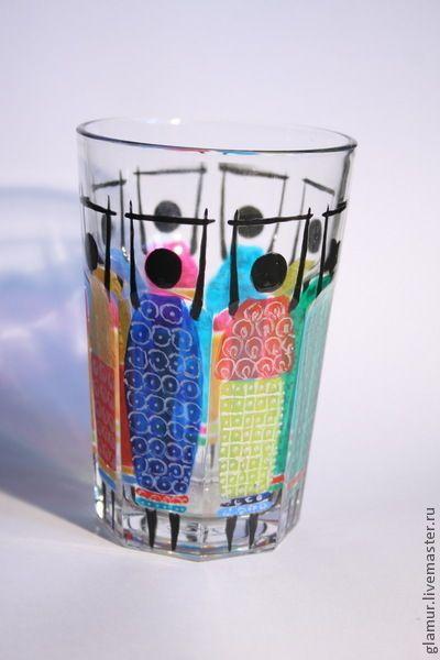 """Бокалы, стаканы ручной работы. Ярмарка Мастеров - ручная работа Стакан """" Африканские пляски"""" женщины, мужчины. Handmade."""