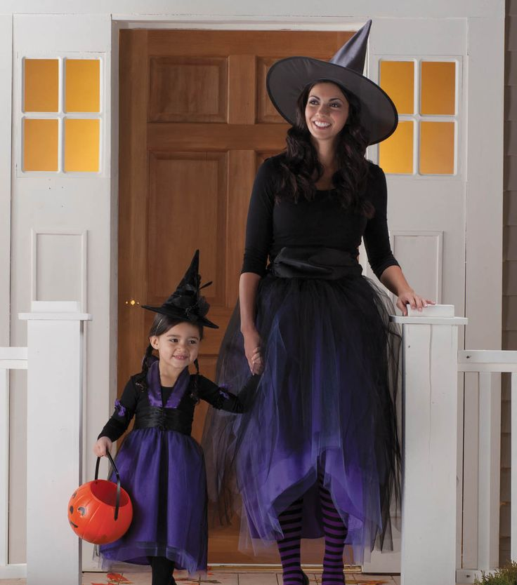Put on your best black shirt  and pants or tights and add some tulle to make a matching mother and daughter witch costume for Halloween. ...