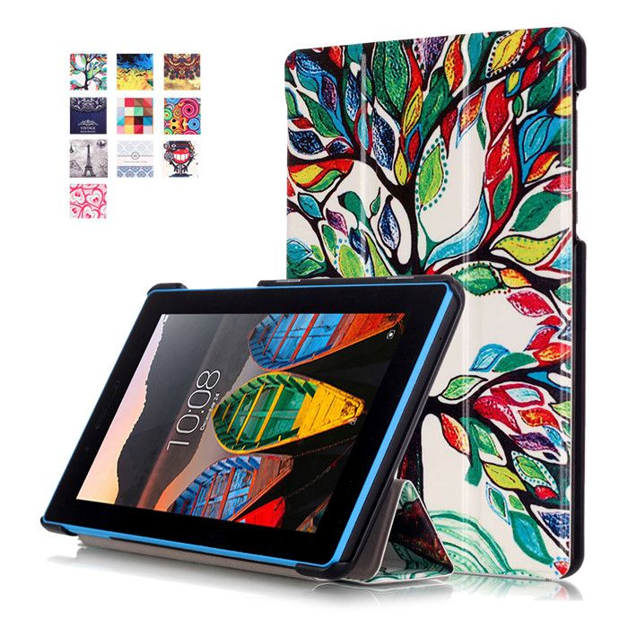 Tempered Glass Screen Protector Film + PU Cover Case for Lenovo Tab 3 Tab3 7 ESSENTIAL 710 710I 710F TB3-710F Tablet 7.0 inch