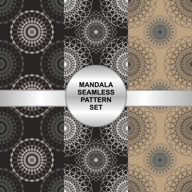 Mandala Seamless Pattern Set Background Pattern Flower Png And