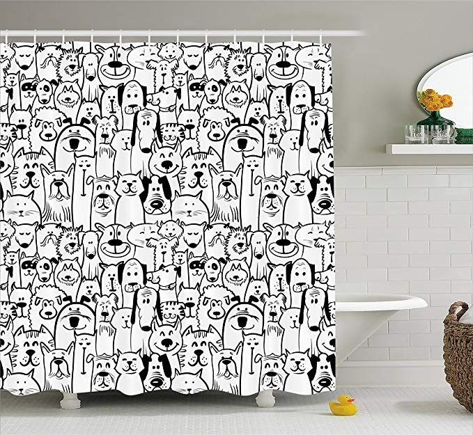 Ambesonne Doodle Shower Curtain Collection Of Dogs And Cats Cute