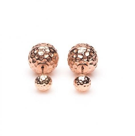 Double Dots oorbellen Rose Hammered - by Karma <3