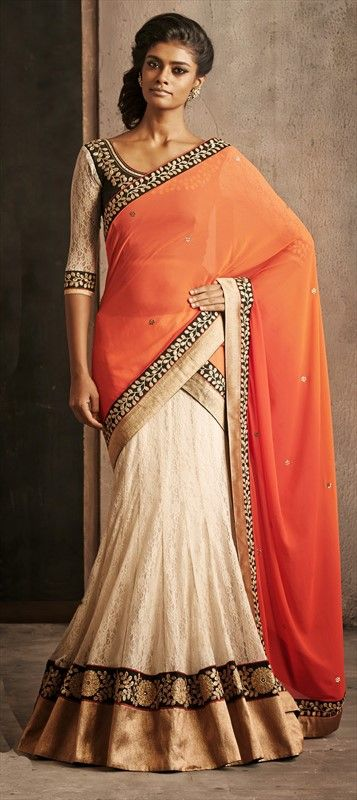 148619, Lehngas Style Sarees, Faux Georgette, Super Net, Stone, Lace, Resham, Orange, White and Off White Color Family