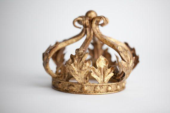 Gold Crown Cake Topper - Wedding Cake Top - Princess Party Cake Topper