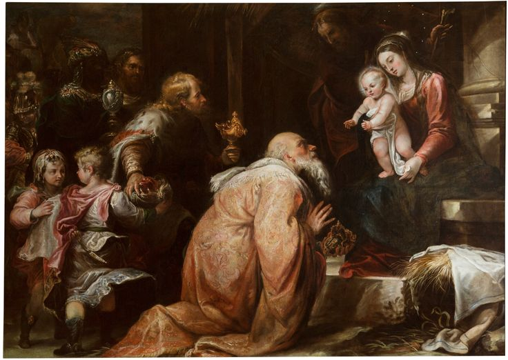 """""""God rules over the nations; God sits upon his holy throne. The princes of the peoples assemble with the people of the God of Abraham. For the shields of the earth belong to God, highly exalted."""" Psalm 47:9-10 // Adoración de los Reyes Magos / Adoration of the Magi // ca. 1663 // Francisco Rizi // Museo del Prado // #ChildJesus #Christ #Epiphany #Epifanía"""