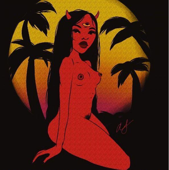 Illustration girl satan
