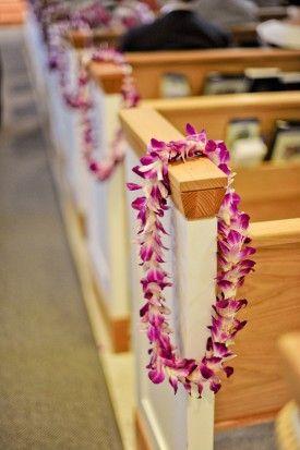 Tropical Hawaiian Wedding-LEIS @Rebecca Rivalto Villalobos para la iglesia