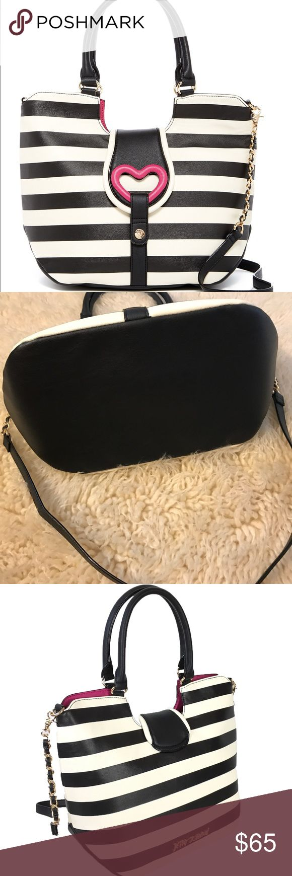 """Betsey Johnson Loop Di Loo Tote EUC - used for like 4 days, no flaws - like new! Details: - Dual rolled top handles - Detachable partial chain shoulder strap - Foldover flap with magnetic snap closure - Exterior features heart accent and stripe detail - Interior features wall zip pocket and 2 media pockets - Approx. 12 3/4"""" H x 16"""" W x 7.5"""" D - Approx. 9.5"""" handle drop, 24"""" strap drop - Betsey Johnson Bags Totes"""