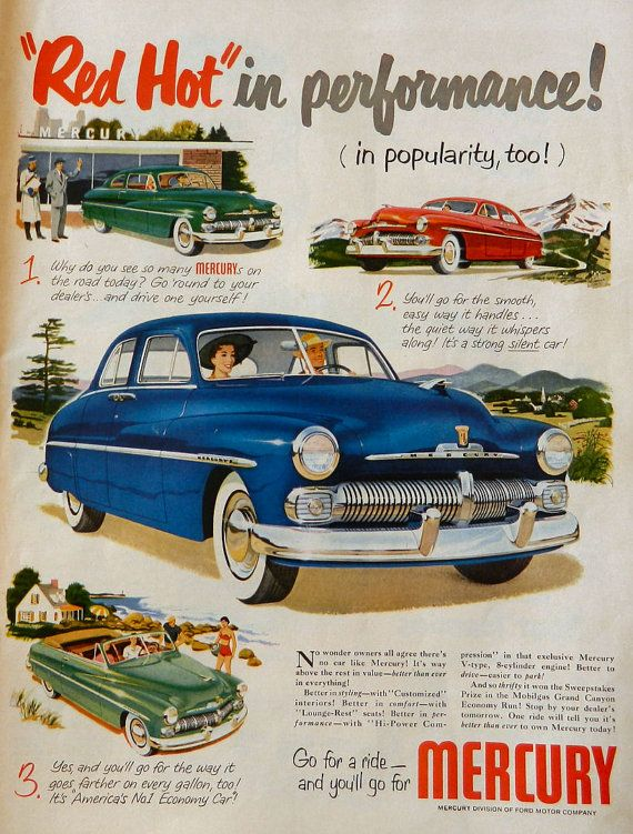 Vintage Mercury Car Ad - 1950 vintage magazine ad, blue Mercury, green Mercury, red Mercury car, man cave art, automobile print,