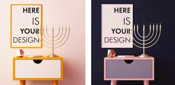 4 mockups posters for Hanukkah by FilL239 on @creativemarket