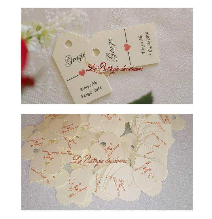Bigliettini / Tags per matrimonio e bomboniere di LaBottegadeidecori su Etsy