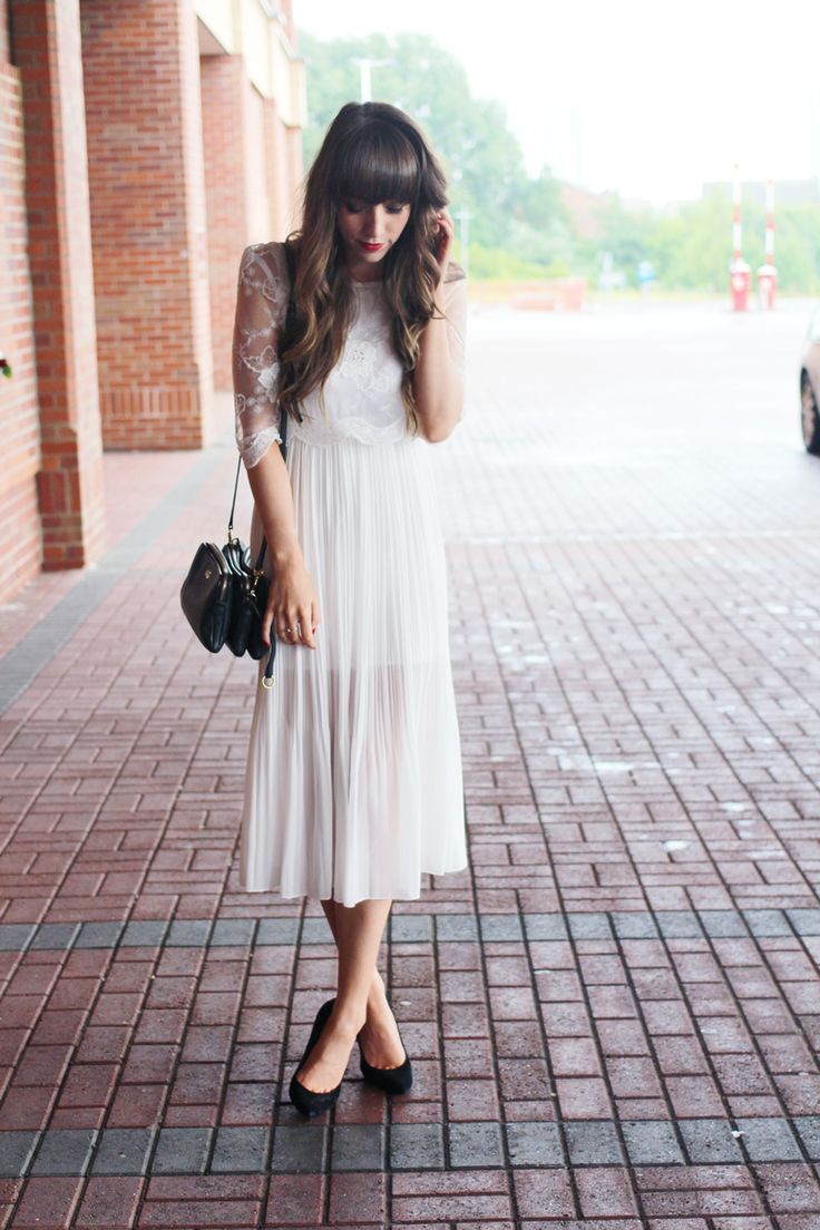 Black White Dress Wedding Guest : Wedding guest outfit white dress ethereal lace black