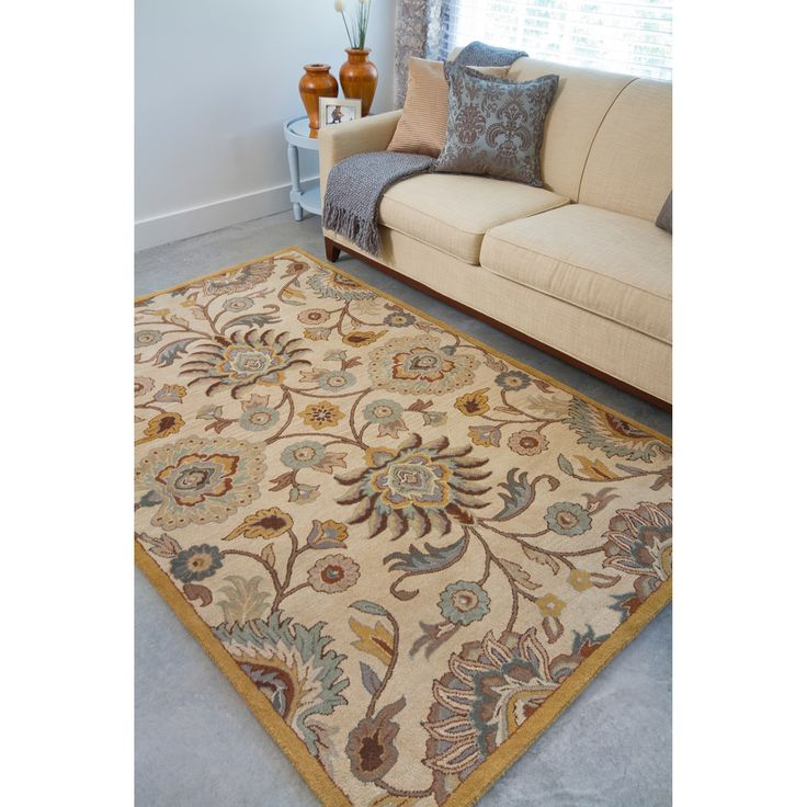 Hand Tufted Coliseum Beige Floral Wool Rug | Overstock.com Shopping   The  Best