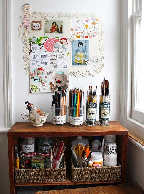 organized art supplies