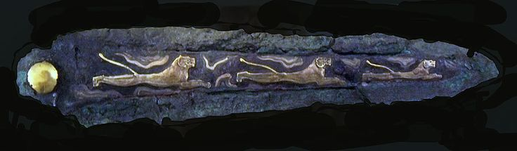 Bronze dagger with inlaid of gold and silver from grave 4 in Grave Circle A at Mycenae. The scene shows warriors and a bowman dancing on a g...