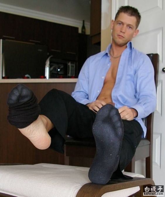Black Dress Socks, Bare Men, Black Socks