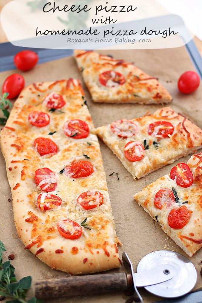 Made-from-scratch flavorful cheese pizza dough topped with more cheese and half grape tomatoes. Friday night pizza just got a whole lot better