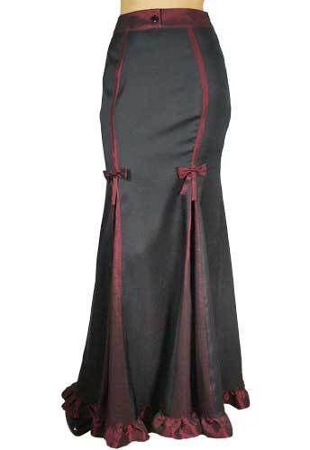 20 22 Sexy Black & Burgundy Gothic Victorian Steampunk Ruffled Hem Skirt  #ChicStar #FullSkirt