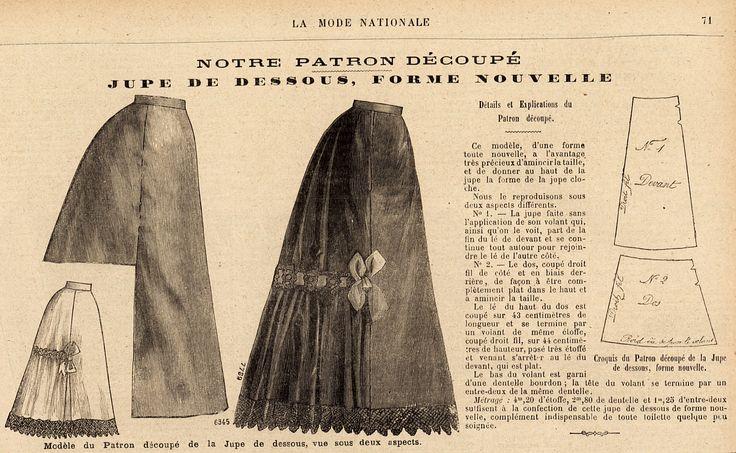Jupe en dessous, patron découpé 1895 La Mode national