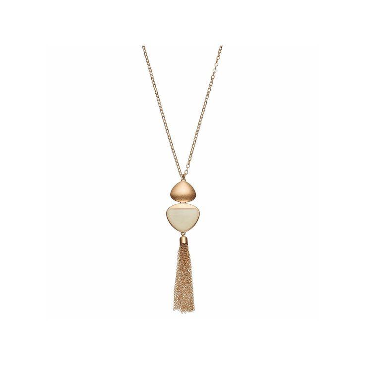 Brown Triangular Tassel Pendant Necklace, Women's, Lt Beige