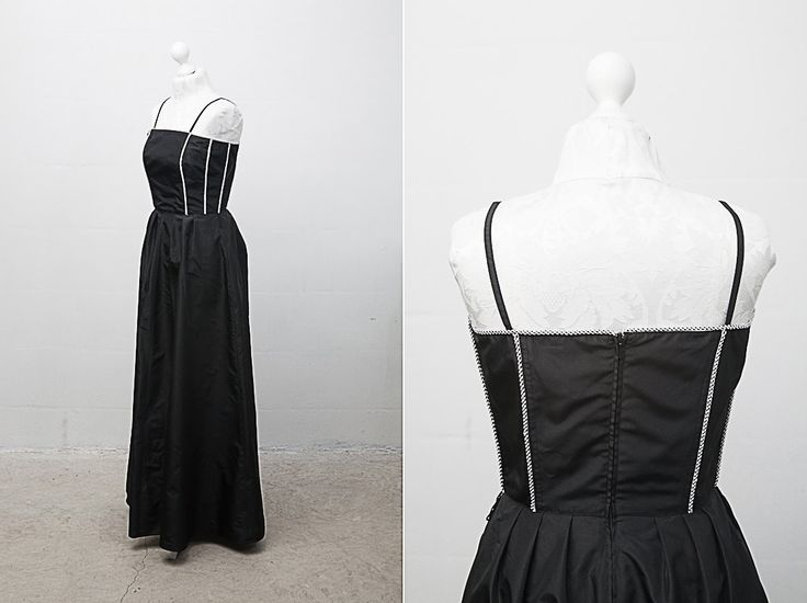 Black Evening Gown / 1980s Floor Length Black Vintage Gown with Corset /Dress on Straps / Size Large / Black Formal Gown / Long Black Dress  A black full body prom style dress with straps. Top part is corset, embroidered with black and white details. There's a black zipper in the back. A matching black lining underneath. ♔♔♔ BRAND: Yvette, France. Material: 100% polyester. Color: black/white. Condition: great vintage condition. Size: US Size 10 / UK Size 12 ...
