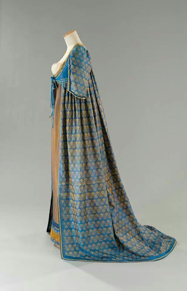 Regency gown. Spectacular fabrics! Open robe looks like silk sari material.