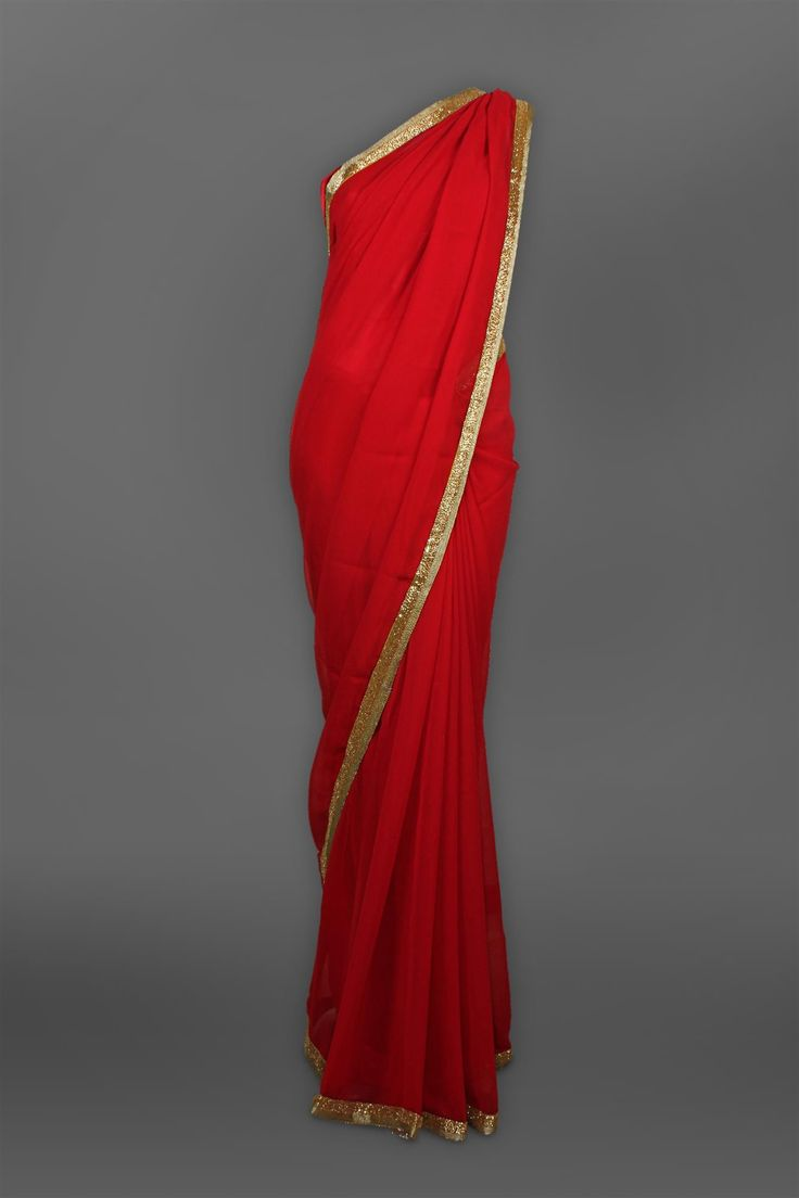 Elegant Red color Plain Sari with Heavy Collar Blouse
