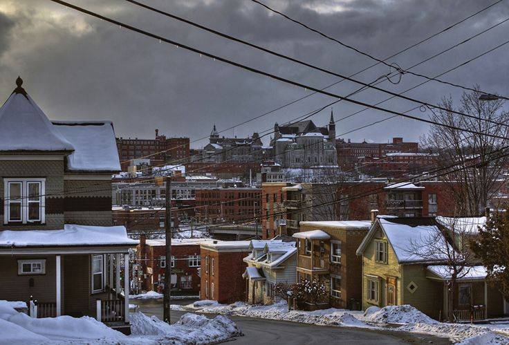 Wallpapers Canada Sherbrooke Quebec Winter Snow Street Cities Building Houses