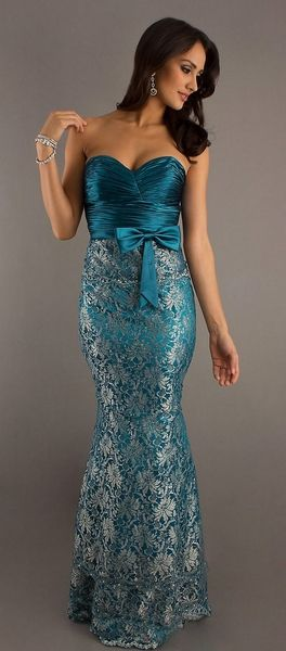 Long Sexy Teal Metallic Lace Formal Dress Tight Fit Lace