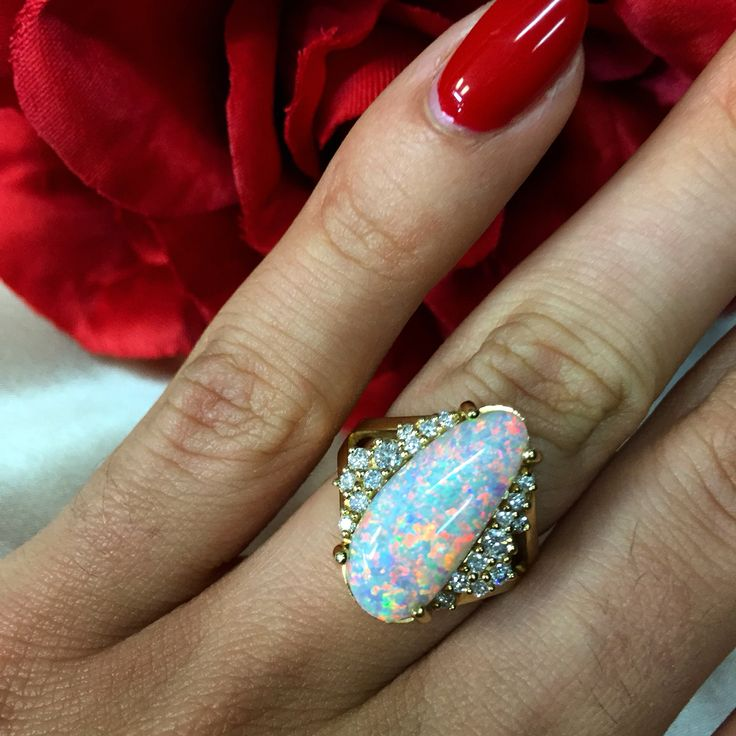 Amazing Free Form Solid Australian Crystal Opal from Lightning Ring featured in this gorgeous Handmade Yellow Gold and Diamond Ring!   Available at Anthonys Fine Jewellery!   #opal #opals #opalring #lightningridge #crystalopal #whiteopal #freeformopal