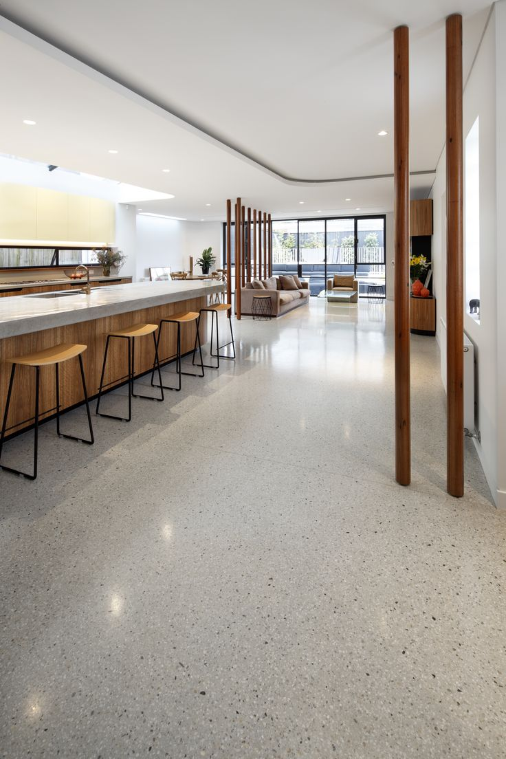 Off White Lazenby Polished Concrete floor with matching L Shaped Pre-cast  Treads