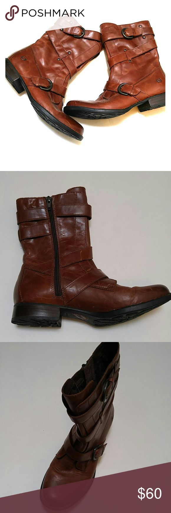 Born Boots Brown Born Boots. Cheetah pattern on the inside. Zips down the side. Movable inside tongue. Adjustable buckle. Soles in good condition. Light scratches from normal wear. In good condition. Size 8.5M. Upper made from 100% leather. Man made sole. Born Shoes Combat & Moto Boots
