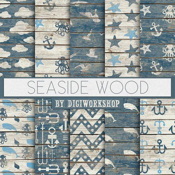 Seaside Digital Paper: Seaside Wood digitale Meer von DigiWorkshop