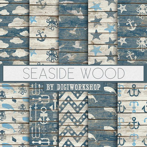 Seaside Digital Paper: Seaside Wood digital sea by DigiWorkshop