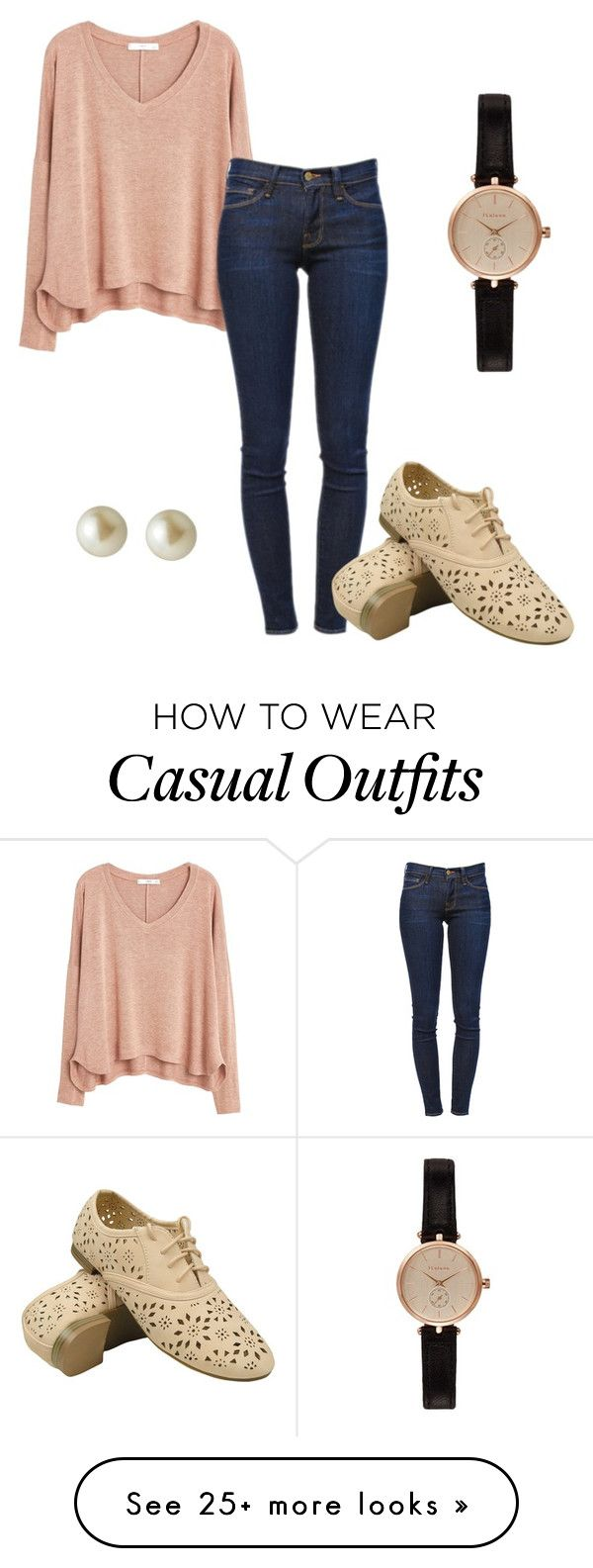 """""""Casual"""" by amirahtaylor on Polyvore featuring MANGO, Frame Denim, Carolee and Barbour"""