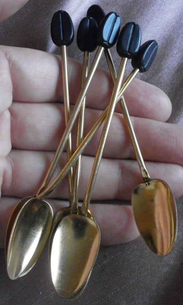 """6 petites cuillères à moka vintage en alu doré & motif """" grain de café """"   Art, antiquités, Objets du XXe, récents   eBay!"""