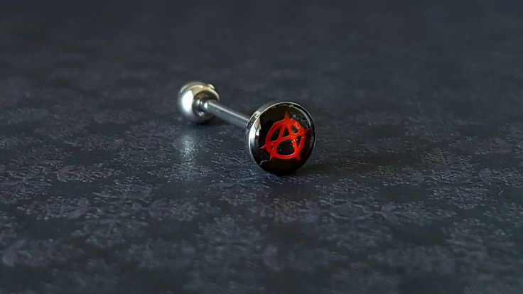 Anarchy Black And Red Tongue Barbell (14G)