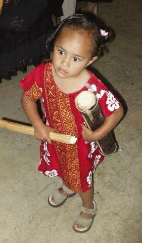 Little Niuean Girl with Drum