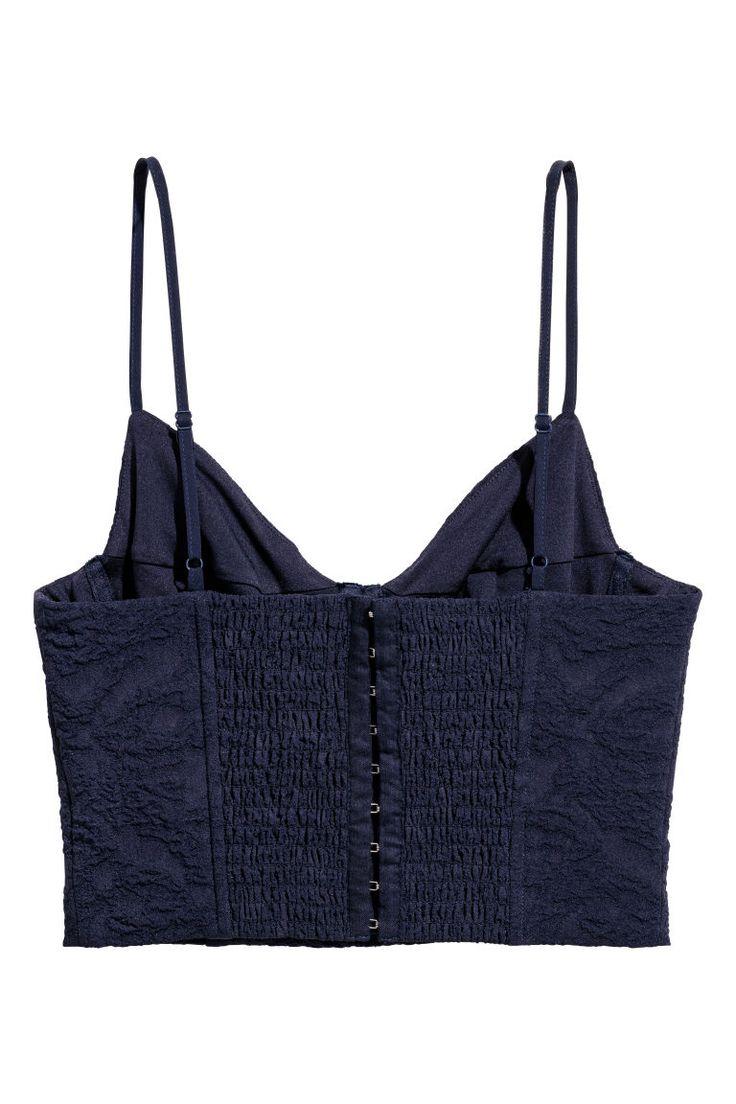 Bustier en tissu jacquard - Bleu foncé - FEMME | H&M FR 3