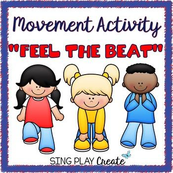 """Quick and Easy Freebie Movement Activity """"Feel the Beat"""" or """"Take a Seat"""" with activity posters and a music lesson idea with rhythm practice printables. Great for a brain break or transition for any classroom. K-3 Resource Includes: 2 Chants on single posters Teaching Ideas 3 Music Composition printables."""