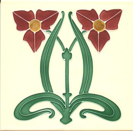 Historic Tiles - Tube Lined Art Nouveau Tiles - Twinflower